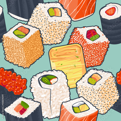Sushi roll close-up. Traditional japanese food. Pattern - 108614099