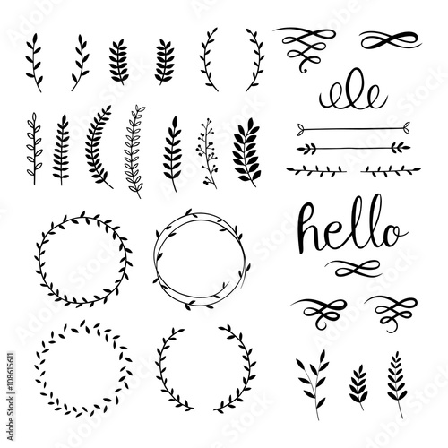 Photo  Vintage set with herbs. Vector.