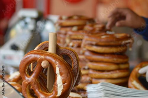 Photo pretzels for sale on blurred background