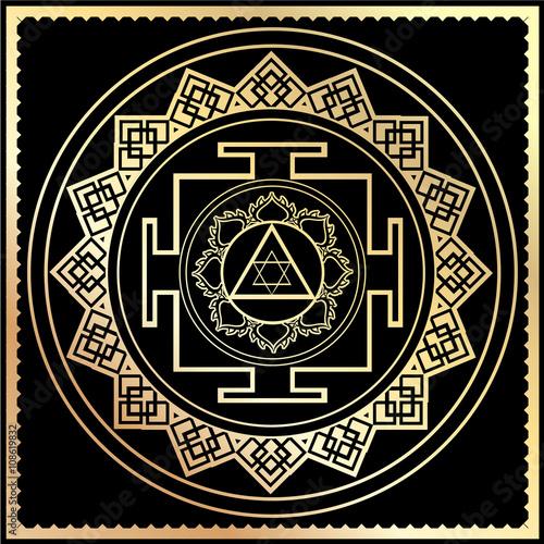 Fotografie, Obraz  illustration golden Yantra Goddess Lakshmi symbol
