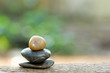 Tower stone with beautiful bokeh in the background background. Concept of tranquility,peace and relaxing.