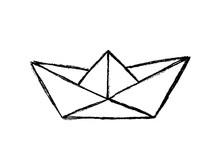 Paper Boat Sketch, Hand Drawn Vector Illustration