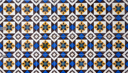 Panel Szklany Nowoczesny Traditional ornate portuguese decorative tiles azulejos. Vintage pattern. Abstract background.