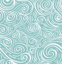 Seamless Sea Hand-drawn Pattern, Waves Background.
