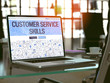 Customer Service Skills Concept - Closeup on Landing Page of Laptop Screen in Modern Office Workplace. Toned Image with Selective Focus. 3D Render.