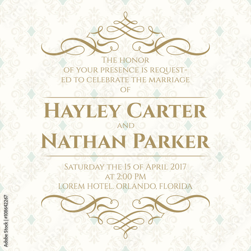 Graphic Design Page Wedding Invitation Template For Greeting Cards