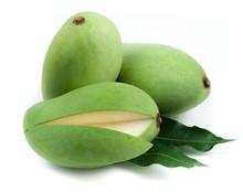 Fresh Green Mango On White Bac...