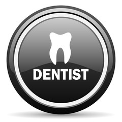 Fototapeta dentist black circle glossy web icon