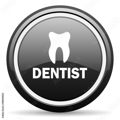 dentist black circle glossy web icon - 108658020