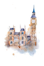 Watercolor Drawing Westminster Palace In London. Aquarelle Painting Houses Of Parliament, Big Ben