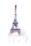 watercolor drawing of Eiffel tower in Paris on white background - 108664280