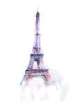 akwarela rysunek wieży Eiffla w Paryżu na białym tle - 108664280