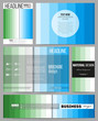 Set of templates for presentation, brochure, flyer or booklet. Abstract colorful business background, blue and green colors, modern stylish striped vector texture, simple cover design.