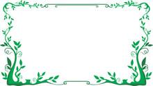 Green Leaf Frame Floral Vector