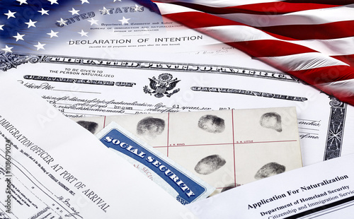 Immigration Documents with US Flag Wallpaper Mural