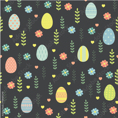 Cotton fabric Easter. Vector seamless pattern.