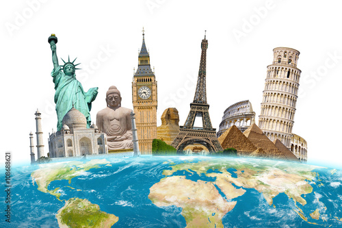 Famous landmarks of the world surrounding planet Earth Poster