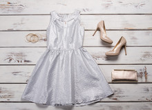 Silver Dress With Beige Shoes