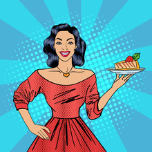 Girl Holding A Cake. Housewife With Cheesecake. Pop Art. Happy Woman