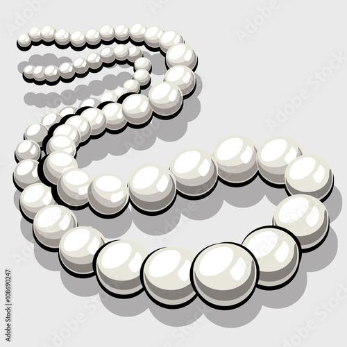 Beads from white pearls, womens elegant jewelry Wallpaper Mural