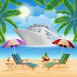 Tropical Paradise. Cruise Ship. Exotic Island with Palm Trees.