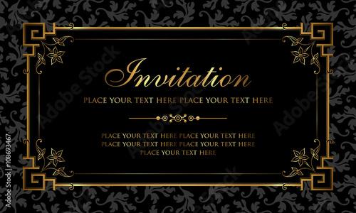 Invitation card design black and gold vintage style buy this invitation card design black and gold vintage style stopboris Gallery