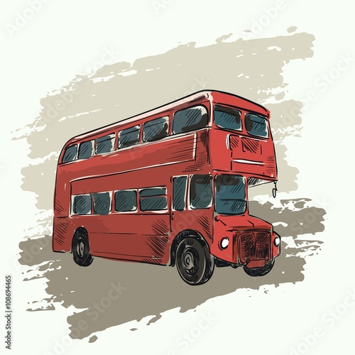 Photo  classic red double decker bus