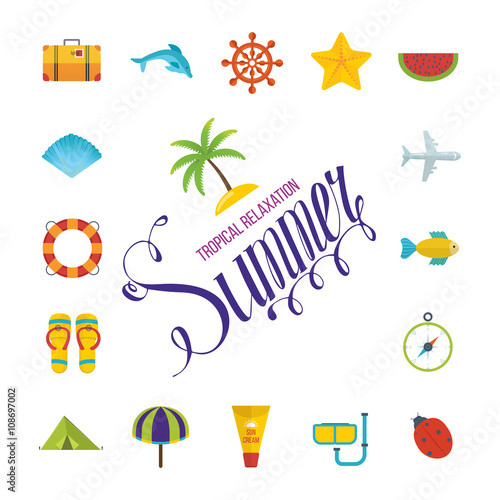 Tropical Summer holiday vector background. © Idey