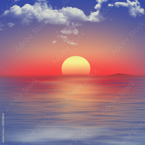Red sunset over the sea
