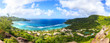 canvas print picture - The panoramic view of the island and ocean from above