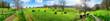 canvas print picture - Panorama mit ländlicher Idylle, Kühe weiden in schöner Landsc