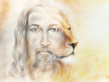 Painting Of Jesus With A Lion,...