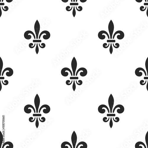 Golden Fleur De Lis Seamless Pattern Black White Template Floral