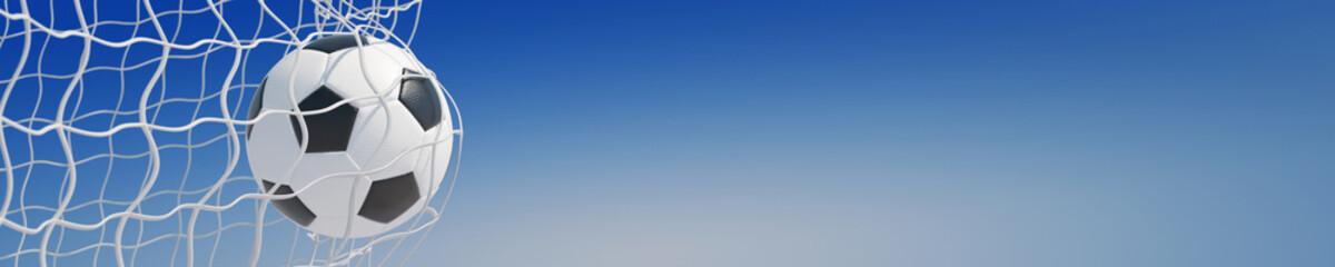 Fototapeta Piłka nożna Panorama von Fußball im Tor vor Himmel