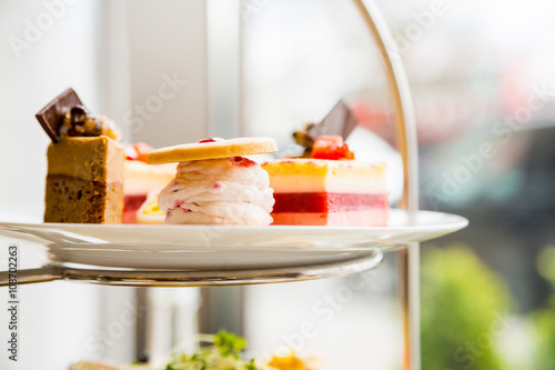Fototapeta English afternoon tea desserts with beautiful breakfast snacks obraz