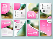 Set Of Annual Report Brochures Flyer Magazine Poster Design Template Vector, Leaflet Cover Presentation Abstract Flat Background, Layout In A4 Size And Pink Circle Label. Illustration.