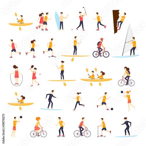 Physical activity people engaged in outdoor sports, running, cycling, skateboarding, roller skating, kayaks, tennis, sailing, surfing, summer. Flat design vector illustration. Wall mural