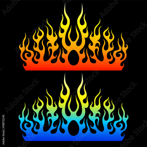 Set of colored tribal flames for tattoo or another design. Wallpaper Mural