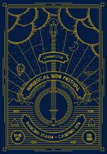 Vector Music Poster Background Template. Flyer For Brochure, Cover, Card, Festival, Events. Banjo Guitar Geometric Illustration.