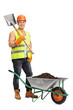 Worker holding a shovel next to a wheelbarrow