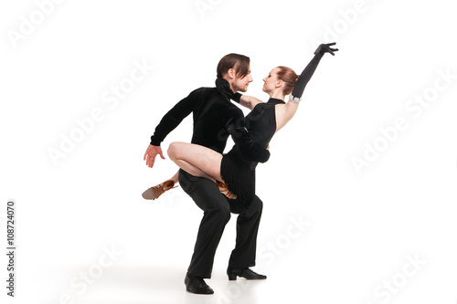 professional artists dancing over white