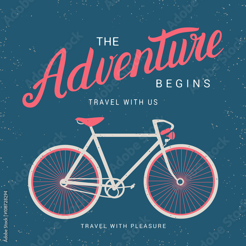 Fototapeta  The adventure begins poster with bicycle silhouette