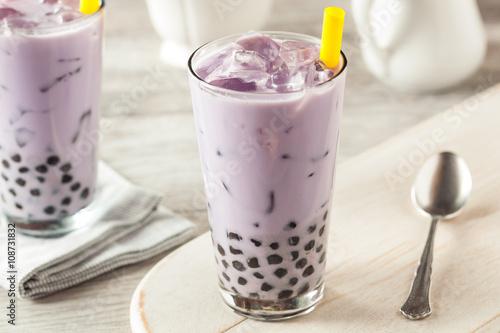 Photo  Homemade Taro Milk Bubble Tea with Tapioca