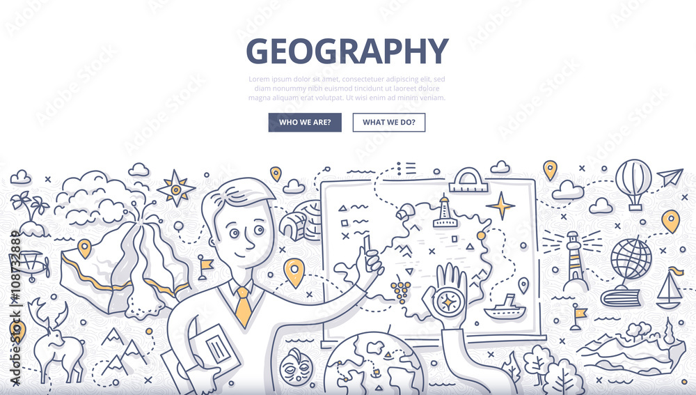Fototapety, obrazy: Geography Doodle Concept