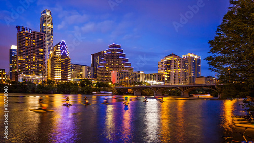 Poster Texas Austin, Texas Downtown Skyline at Night