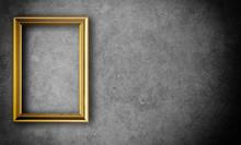 Gold Vintage Photo Frame Gray Background