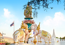 Pink Elephant Statue Locate Near Grand Palace Or Wat Phra Kaew In Bangkok, Thaiand