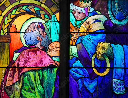 Saints Cyril and Methodius - Stained Glass by Alphonse Mucha Poster