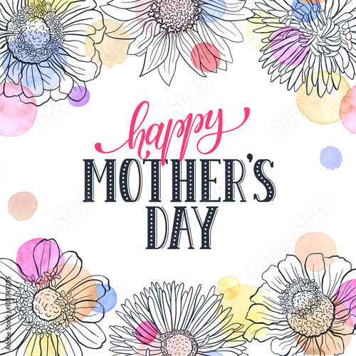 Mothers day greeting card template happy mothers day wording with mothers day greeting card template happy mothers day wording with flowers outlines and watercolor dots m4hsunfo