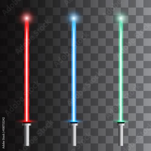 Fotografía  Set of light futuristic swords. Vector illustration
